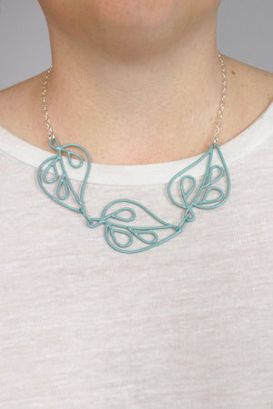Ada Petite Triple Necklace in Faded Teal
