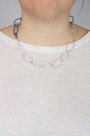 Audrey necklace in Silver and Azure Blue