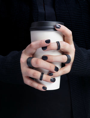 Stacking Midi Ring in Matte Black