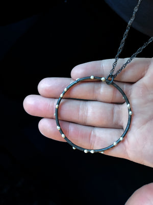 Extra Large Silver on Steel Circle Pendant on Long Chain