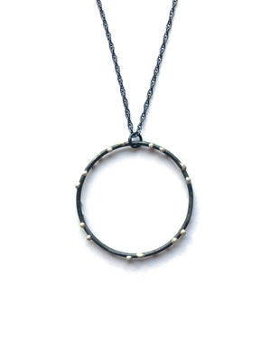 Extra Large Silver on Steel Circle Pendant on Long Chain - sample sale