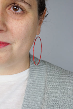 Extra Large Evident Earrings in Coral Red