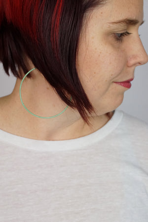 Extra Large Evident Earrings in Pale Green