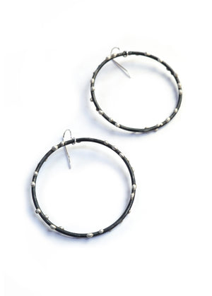 Extra Large Silver on Steel Circle Earrings