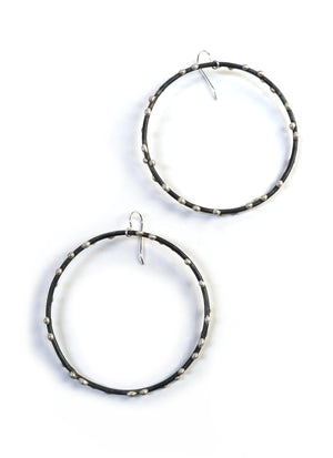 Giant Silver on Steel Circle Earrings