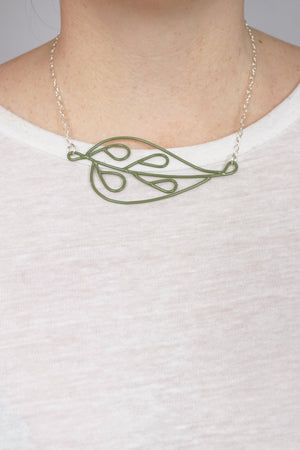 Horizontal Ada Necklace in Olive Green