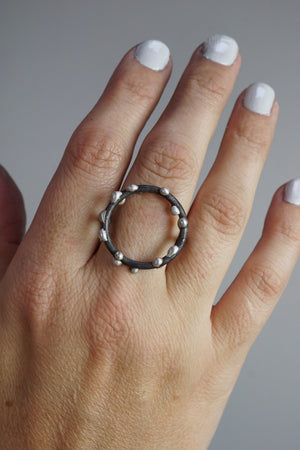 Large Silver on Steel Circle Ring