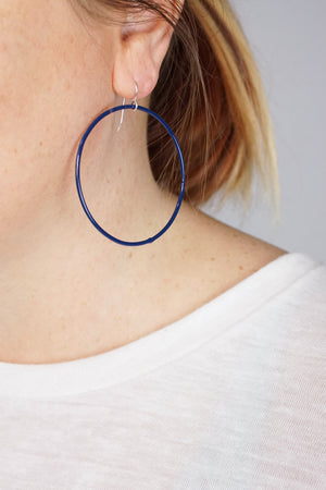 Large Evident Earrings in Blue Sapphire