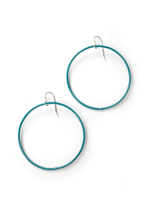 Large Evident Earrings in Bold Teal