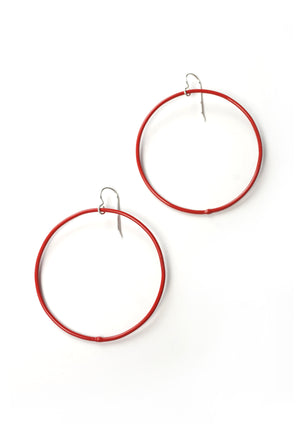 Large Evident Earrings in Coral Red