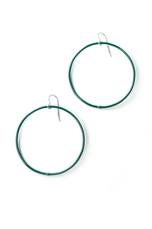 Large Evident Earrings in Emerald Green