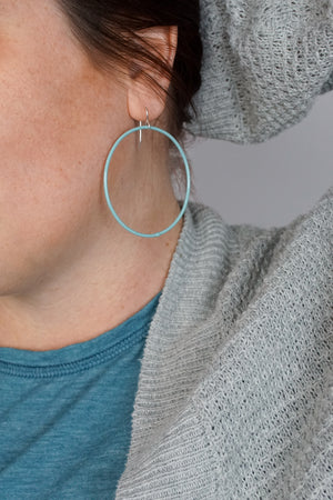 Large Evident Earrings in Faded Teal