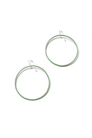 Large Evident Earrings in Pale Green