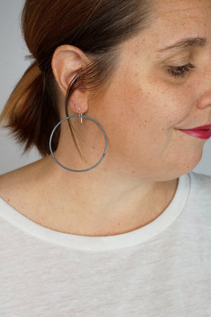 Large Evident Earrings in Storm Grey