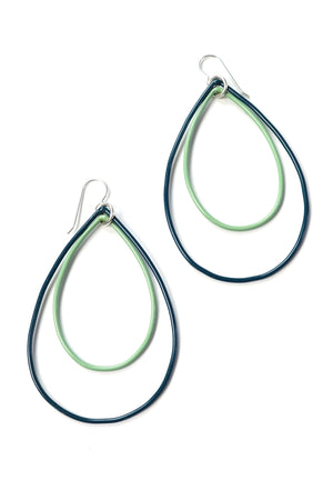Large Rachel earrings in Deep Ocean and Pale Green