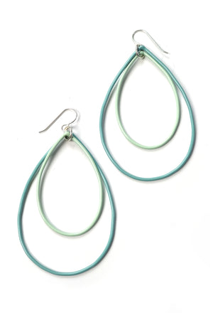 Large Rachel earrings in Faded Teal and Soft Mint