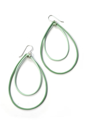 Large Rachel earrings in Pale Green and Soft Mint