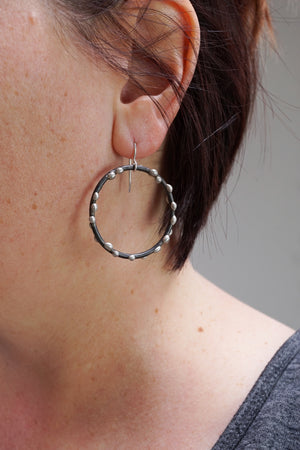 Large Silver on Steel Circle Earrings