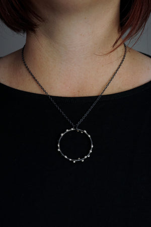 Large Silver on Steel Circle Pendant