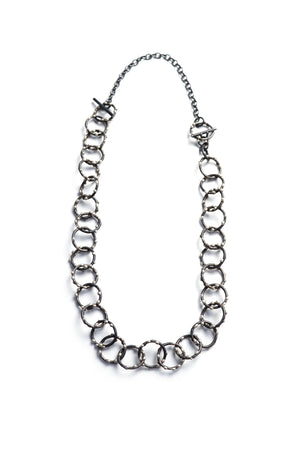 Mid-Length Amaranth Necklace - Silver on Steel