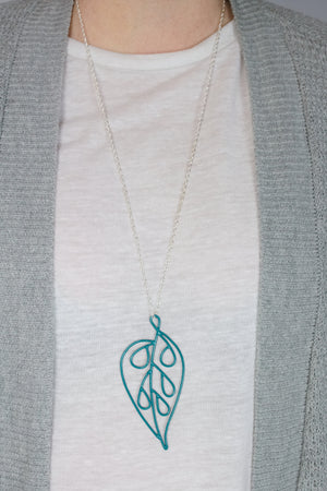 Ada Long Pendant in Bold Teal