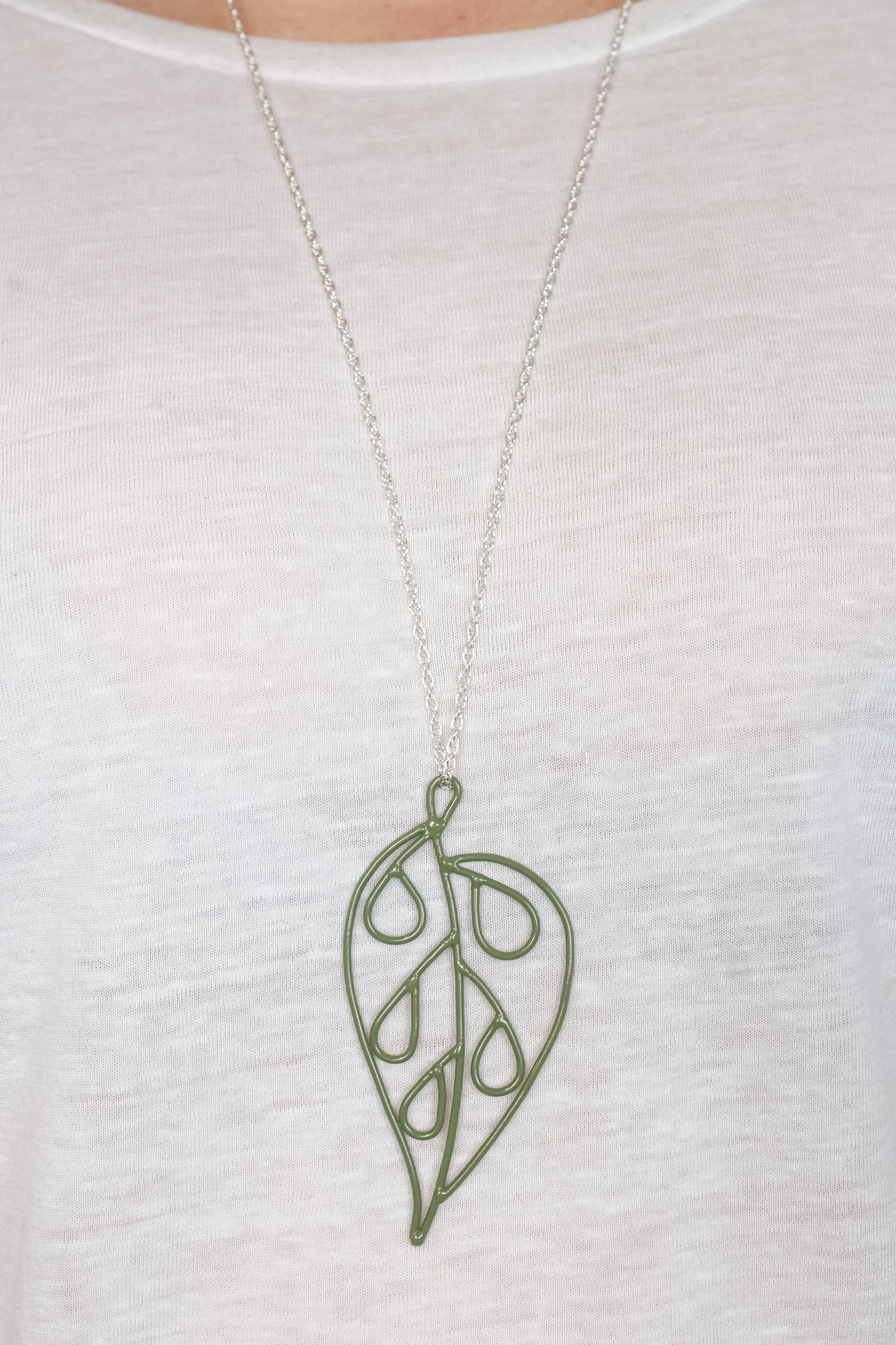 Ada Long Pendant in Olive Green