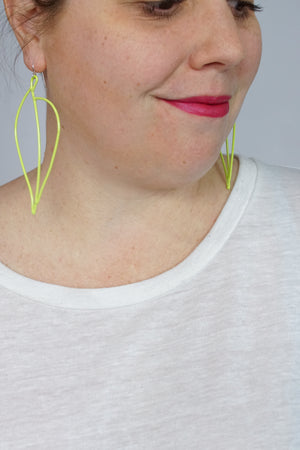 Long Pothos Earrings in Neon Chartreuse