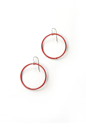 Medium Evident Earrings in Coral Red
