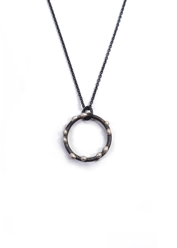 Medium Silver on Steel Circle Pendant