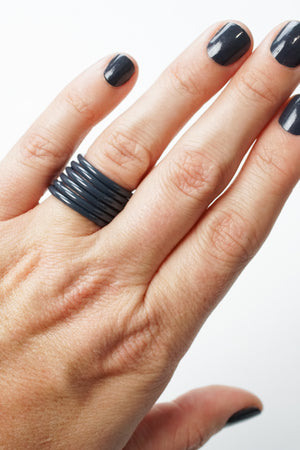 Stacking Ring in Midnight Grey