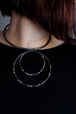 Bold Biala Collar Necklace - Silver on Steel