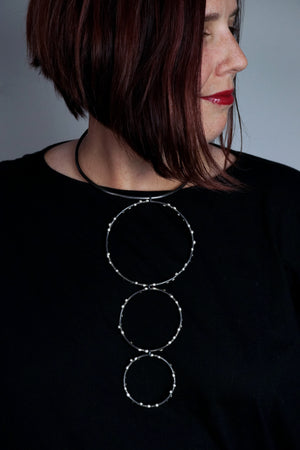 Bold DeFeo Collar Necklace - Silver on Steel