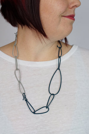 Modular Necklace in Deep Ocean and Stone Grey