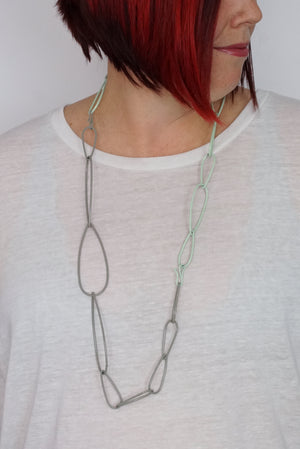 Modular Necklace in Soft Mint and Stone Grey