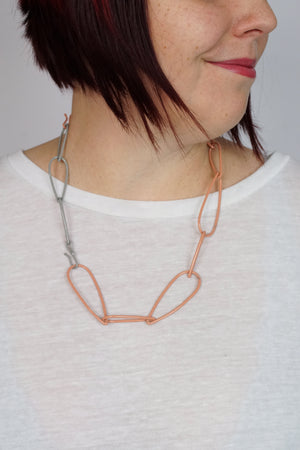 Modular Necklace in Dusty Rose and Stone Grey