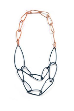 Modular Necklace in Deep Ocean, Desert Coral, and Dusty Rose