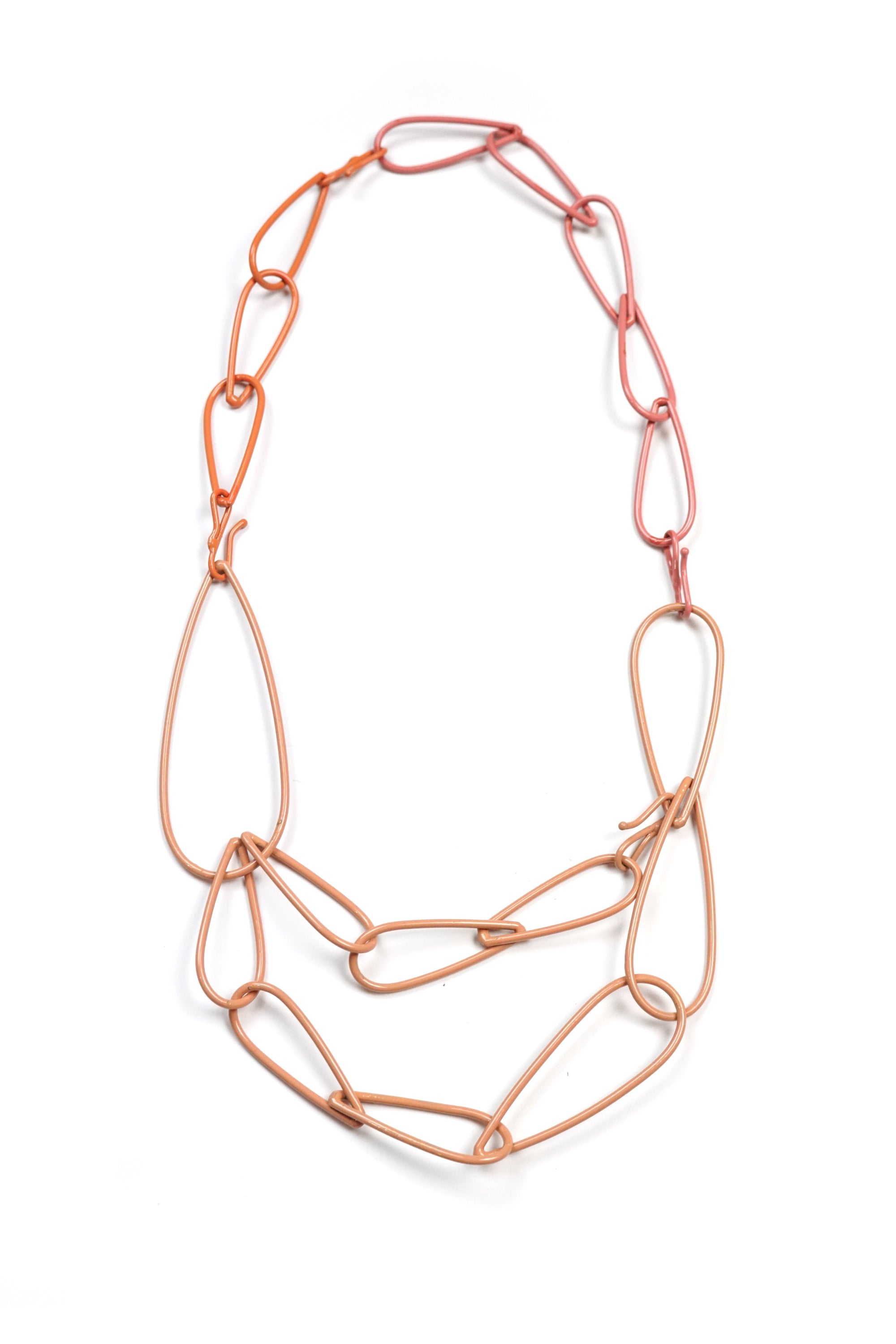 Modular Necklace in Dusty Rose, Desert Coral, and Light Raspberry