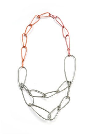 Modular Necklace in Stone Grey, Desert Coral, and Light Raspberry