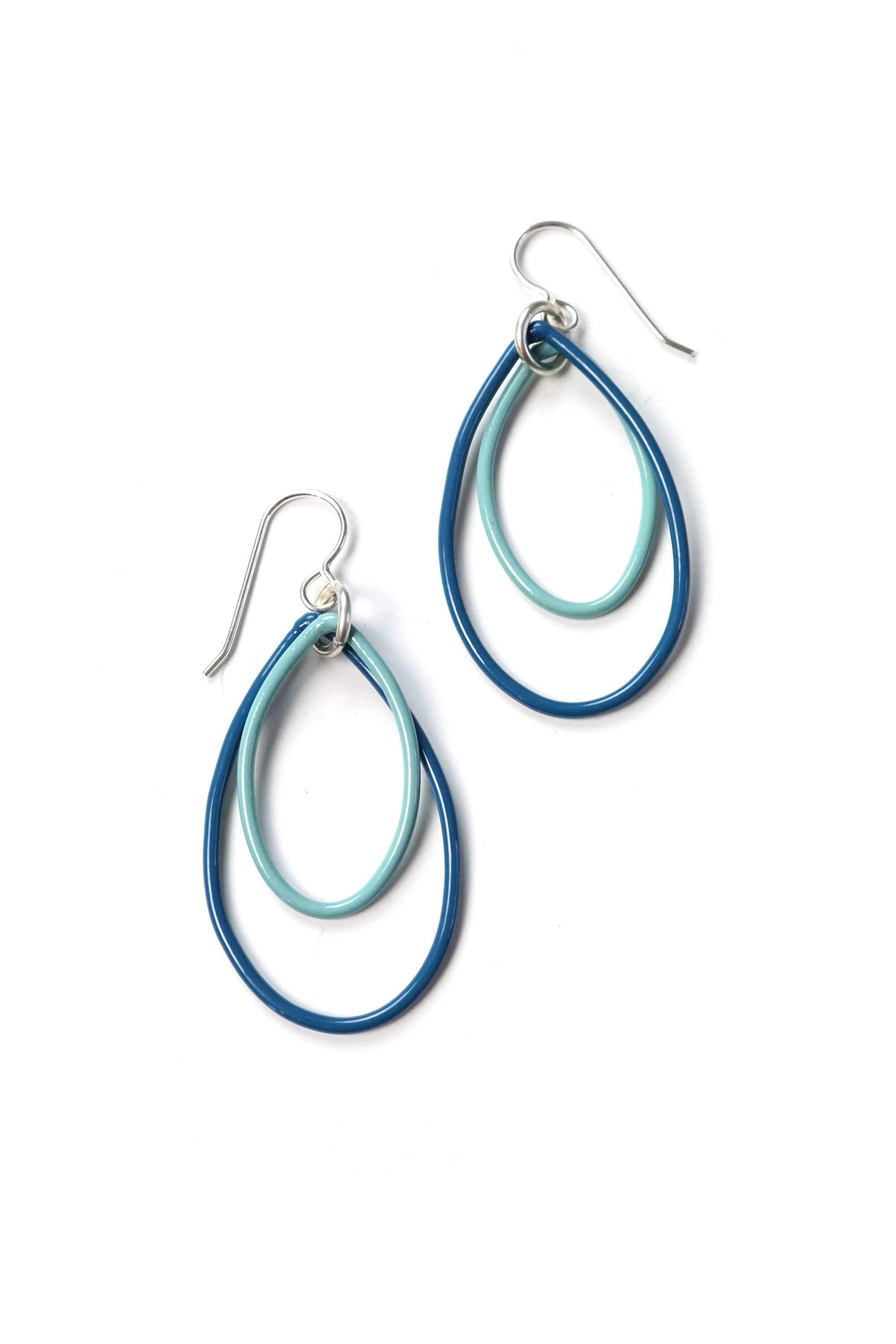 Nellie earrings in Azure Blue and Faded Teal