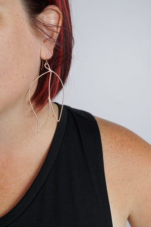 Petale Statement Earrings in black steel, silver, or bronze