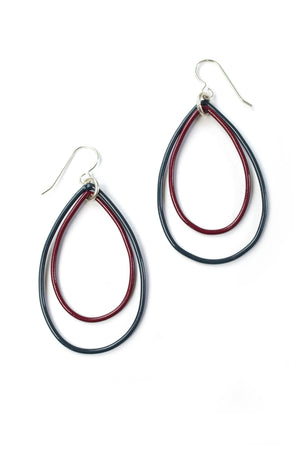 Rachel earrings in Midnight Grey and Lush Burgundy
