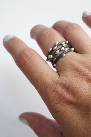 Silver on Steel Stacking Rings (set of three)