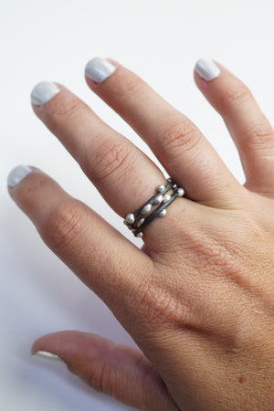 Silver on Steel Stacking Rings (set of two)