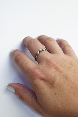 Silver on Steel Ring