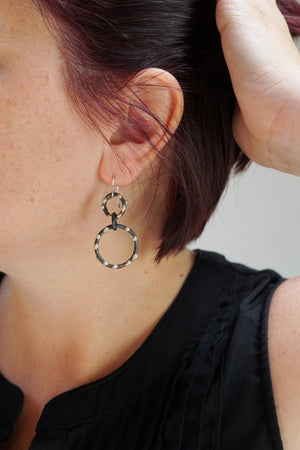 Petite Zoe Earrings - Silver on Steel