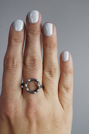 Small Silver on Steel Circle Ring