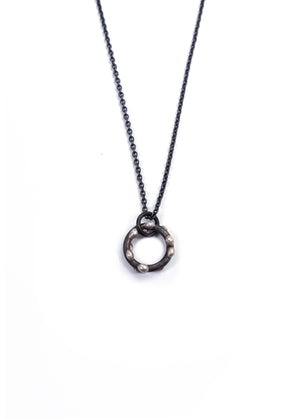 Small Silver on Steel Circle Pendant