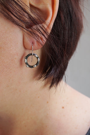Small Silver on Steel Circle Earrings