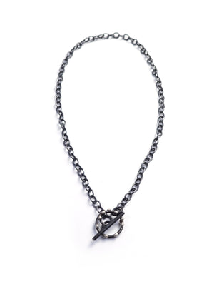 Silver on Steel Toggle Necklace