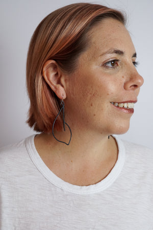 Virage Statement Earrings in black steel, silver, or bronze